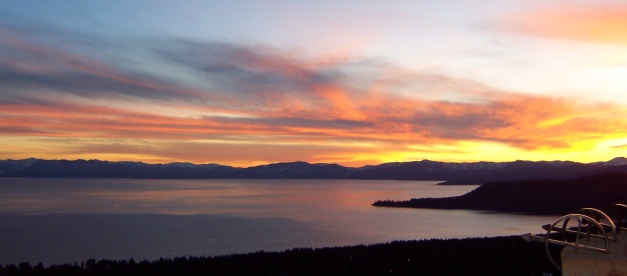 Sunset over Lake Tahoe.  ~ Photo by Michelle Portesi